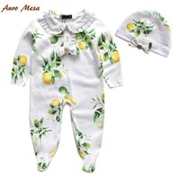 Wholesale Bowknot One Piece Romper - 2016 Pure Cotton Hot Sell Green Rompers Baby Fruit Fresh Romper Long Sleeve Rompers Suit + Cap White Bowknot Girl Clothes One-Piece N1546