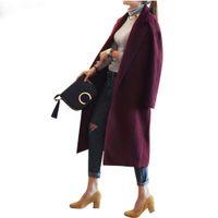 wollmantel lila großhandel-Frauen Wolle Blends Wintermantel Frauen Elegante Lange Mantel Woolen Jacke Lila Rot Wolle Trenchcoats Lose Winter Outwear Lange Woolen Jack