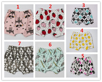 Wholesale Strawberry Figures - INS Kids PP pants baby toddlers 7 Design boy's girl's ins animal fox tent wheels fruits strawberry geometric figure pants shorts Leggings