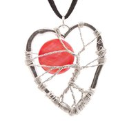 Charms main Coeur Wire Wrap Red Sun Tree of Life Pendentif Bohemian Collier en cuir style Hippie Bijoux