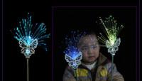 barra de luz de la corona al por mayor-Envío gratis whilesale Decoraciones del día de los niños Mariposa fibra óptica varita Corona diadema fiesta de baile bar colorido cambiante palos de luz