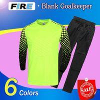 Wholesale Mens Suits Xxl - 2016 17 Mens Goalkeeper Soccer Jerseys Sponge Protector Set Camisetas De Futbol Jersey Kids Goal Keeper Uniforms Long Sleeve training suits