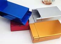 Wholesale Rectangular Cover - New Arrival Sliding Cigarette Storage Box Push And Pull Cover Metal Automatically Aluminum Cigar Cigarette Tobacco Holder