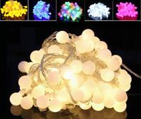 éclairage à cordes solaires blanches achat en gros de-DHL HOT Noël coloré LED cordes 100 lumières led 10 mètre boule lumière Noël décoration de fête de mariage LED