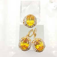 Wholesale 14k Sapphire Pendant - gold yellow Emerald Yellow Zircon 925 Silver Jewelry Sets Earrings Pendant Rings Size 7 8 9 For Women Free Jewelry Box C
