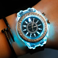 Wholesale Led Light Up Pins - Mens Geneva diamond stone crystal 7 colors led light watch unisex silicone jelly candy fashion flash up backlight quartz watches