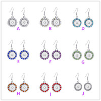 Wholesale 12 Mm Earrings Wholesale - 2016 NEW 8 Colours Bling Crystal Interchangeable Snap Buttons Earrings Fit 12 mm Ginger Snap Earring Jewelry