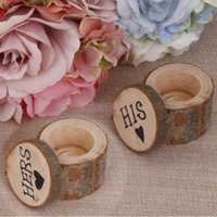 Wholesale Wholesale Ring Pillow - Wood Ring Box 2017 New Arrival HIS HERS 2 pieces Wood Ring Pillows Vintage Country Style