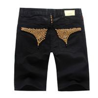 Wholesale European Orange Beads - New Arrival Mens Shorts Black White Blue Designer Denim Jean Shorts Robin Short Jeans Summer Sportswear Shorts BBF0481