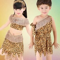 Wholesale Tassel Short Costumes - Halloween Costume Girl Halloween Leopard Clothes Barbarian Costume Boys Girl Tassels Party Stage Costume 6 P  L