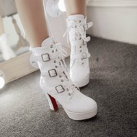 Wholesale Cheap Big Boots - Free shipping womens fashion short boot booties patent PU platform high big heel ziper buckles red white cheap ladies club booties 516-3