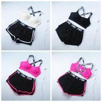 Wholesale Cotton Bras Set - Pink Letter Tracksuit Women Summer Sport Wear Cotton Yoga Suit Fitness Bra Shorts Gym Top Vest Pants Running Underwear Sets 2pcs set OOA2904