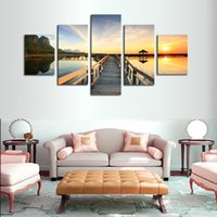 Wholesale Wholesale Wooden Frames Paint - 5 Panels Wooden Pallets HD Picture Canvas Print Painting Artwork Wall Art Canvas Painting Painting On Canvas No Frame Free Shipping