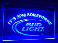 LA094b- Bud Light Son las 5 pm En algún lugar Bar LED Neon Light Sign