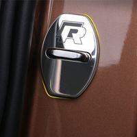 Wholesale Car Door Lock Covers - 4PCS Door Lock Decoration Protection Cover case Car Care For Volkswagen Lamando Sagitar, Tiguan, Golf 7,Long Yi Car Styling
