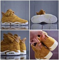 Wholesale Golden Rubbers - (with box) 2018 air retro 6 Wheat Golden Harvest Mens Basketball Shoes Top quality retros 6s men sport Trainer Sneakers eur 40-47