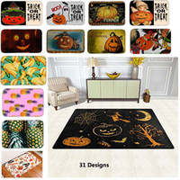 Wholesale Outdoor Floor Mats - 31Styles PVC Halloween Pumpkin Skull Fruit Pineapple Non-Slip Indoor Outdoor Floor Mat Doormats For Home Decor Bath Room Kitchen Mats HH7-65