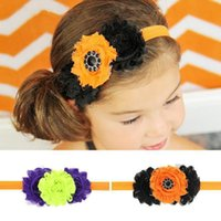 Wholesale Sunflower Headbands - New Infant Baby Hair Accessories Halloween Headbands Girls Sunflower Headband Childrens Elastic Hairbands Babies Headwear 2 Color