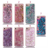 Wholesale Iphone Sparkle Skin - Liquid Quicksand Sparkle Hard PC+Soft TPU Case For Iphone 7 i7 Plus 6 6P 6+ Silicone Stars Heart Love Powder Floating Glitter Bling Gel Skin