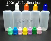 Wholesale Orange Tip - Fedex 100ml LDPE Child Proof E Liquid Bottle Round Plasitc With Needle Slender Tips, Black White Red Orange Blue Geen Tops Are Available