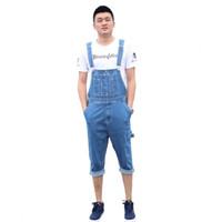 Wholesale Capri Jumpsuits - Wholesale-Summer Men's large size stretch denim overalls Casual knee length short jumpsuits Jeans Shorts Capri