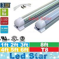 integrado de 4 pés led t8 tubo luzes venda por atacado-Luzes mais frias Levou T8 Tubo de Luzes 1ft 2ft 3ft 4ft 5ft 6ft 8ft Tubos de Luz Led Integrados AC 110-240 V UL DLC