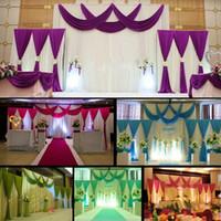 eis seide hochzeit großhandel-HoT, das 3pcs / lot (1pcs 4 * 3m + 2pcs 2 * 2m) verkauft silk Hochzeit drapieren Vorhang gefalteten Hintergrund-Vorhang DecorationSwag Hintergrund