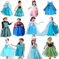 Wholesale Cinderella Halloween Costume - 2016 Girl Anna Elsa Dress Kids Snow Queen Dresses Costume Children Cinderella Princess Dress Girls Rebe Party Cosplay Clothes Vestido
