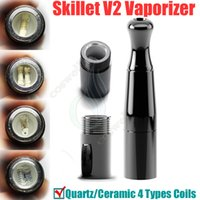 Wholesale Dry Herb Chamber Atomizer - Skillet V2 Vaporizer @Puffco pro 2 Dual Quartz Rod Ceramic chamber Donut Coils Wax Dry herb atomizers clone herbal vapor pen e cigarette DHL