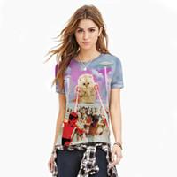 ingrosso magliette felpe delle donne in gatto-All'ingrosso 2016 T-shirt simpatici Plus Size Moda uomo / donna t shirt Cat 3D HD stampa estate girocollo manica corta casual Tops Tees