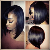 Wholesale Silk Tops For Ladies - Silk Top Brazilian Human Hair Full Lace Wigs 8A Unprocessed Straight Virgin Hair Silk Based Short Bob Lace Front Wigs For Black Women