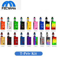 Wholesale Lcd Display Kits - Authentic SMOK T-Priv 220W Full Kit 18 Colors T Priv Advanced Vape Kit with LED Light Top Lcd Display 100% Original