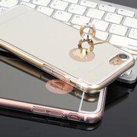 iphone için altın metal arka kapak toptan satış-2018 Yeni varış! Lüks Ayna Altın Metal Alüminyum Tampon Hibrid Sert Telefon Case Arka Kapak Samsung S8 S7