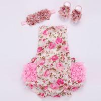ingrosso vendita di neonati ragazza vestiti-VENDITA CALDA !!! Pagliaccetto di pizzo floreale per set di scarpe per capelli da bambino, abiti estivi per neonati boutique ropa bebe;
