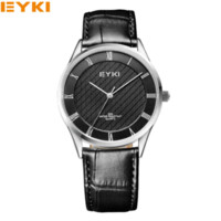 Wholesale Eyki Watches Men - relogio masculino Luxury EYKI Brand Genuine Leather Analog Display Men's Quartz Watch Sports Watches Men Wristwatch