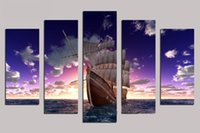 Wholesale Painting Large - Modern Wall Art Home Decoration Printed Oil Painting Pictures 5 Piece HD Canvas Prints Large Sailing Boat on the Sea Landscape