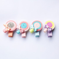 Wholesale Shape Hair Clip - New Glitter Sugar Loaf Shape Cute Lollipop Hairpins Blilnk Round Kids Barretts Hotsale Girls Hair Clips Lovely Colors Barrettes