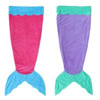 Wholesale Sleeping Bags Polar Fleece - Hot Mermaid Tail Blanket Kids Size Flannel Bed Blanket Soft Baby Girl Sleeping Bag Mermaid Blankets Christmas Gift Blanket Camping Blankets