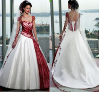 Wholesale black simple gothic wedding dresses for sale - Vintage Cream And Burgundy A line Wedding Dresses Square Cap Sleeve Court Train Lace up Country Garden Gothic Wedding Gowns