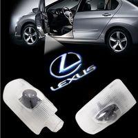 lexus gs venda por atacado-2 pcs CREE luz da porta do carro sombra fantasma bem-vindo luz logotipo cortesia projetor laser emblema Para LEXUS RX LS ES LX GS GX IS