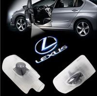 led emblèmes de voiture laser achat en gros de-2pcs CREE lumière de porte de voiture fantôme ombre de bienvenue logo de courtoisie laser emblème de bienvenue pour lexus rx LS ES LX GS GX IS