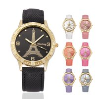 Wholesale Glass Eiffel - Wholesale love heart women leather paris eiffel tower cowboy vintage ladies girls students dress quartz leisure wrist watches