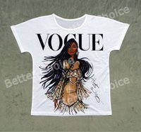 Wholesale Vintage Vogue - Track Ship + Vintage Retro T-shirt Top Tee Personality Model Vogue Brown Skin Girl 0779