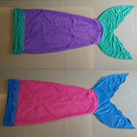 Wholesale Handmade Flannel - Hot Mermaid Tail Blanket Kids Size Flannel Bed Blanket Soft Baby Girl Sleeping Bag Mermaid Blankets Christmas Gift Blanket Camping Bags
