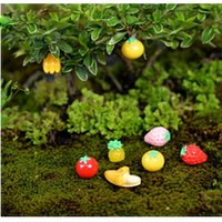 Wholesale Banana Crafts - 500pcs Garden Ornament Miniature Figurine Fruit Apple Banana Strawberry Handmade DIY Resin Craft Micro Landscape Decoration ZA0706