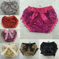 Wholesale Satin Diaper Covers - 2016 kids girls sequins shorts baby bloomers diaper covers toddler sequin shorts pants boutique satin bowknot tassel ball shorts C1087