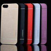 Wholesale Iphone5 Case Brushed Aluminum - New Fashion Ultra Slim Aluminum Brushed Metal Hard Back Cover Case For iPhone5 5S Free Shipping XCA0104