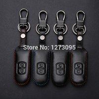 mazda anahtar davaları toptan satış-El Dikişli Mazda 3 Mazda 6 için Deri Araba Anahtarı Durum Kapak 2014 2015 CX-5 CX-7 CX-9 2 Düğmeler Uzaktan Anahtar Kapak Araba Aksesuarları