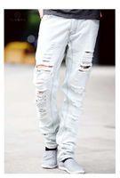 Wholesale Hip Hop Pants For Boys - Large Size Men Jeans Ripped Loose Hip-hop Cotton Jeans Men ripped Designer Brand White Jeans For Boy New Arrival