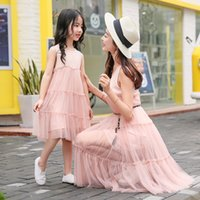 Wholesale Children S Matching Clothes - Family Clothes Summer Lace Dress Matching Outfits Parent-child outfit lace Dresses Mother and daughter Princess Party dress Pink A7253